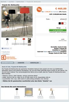 Produktseite Onlineshop