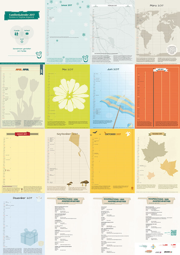 Gestaltung Wandkalender 2017