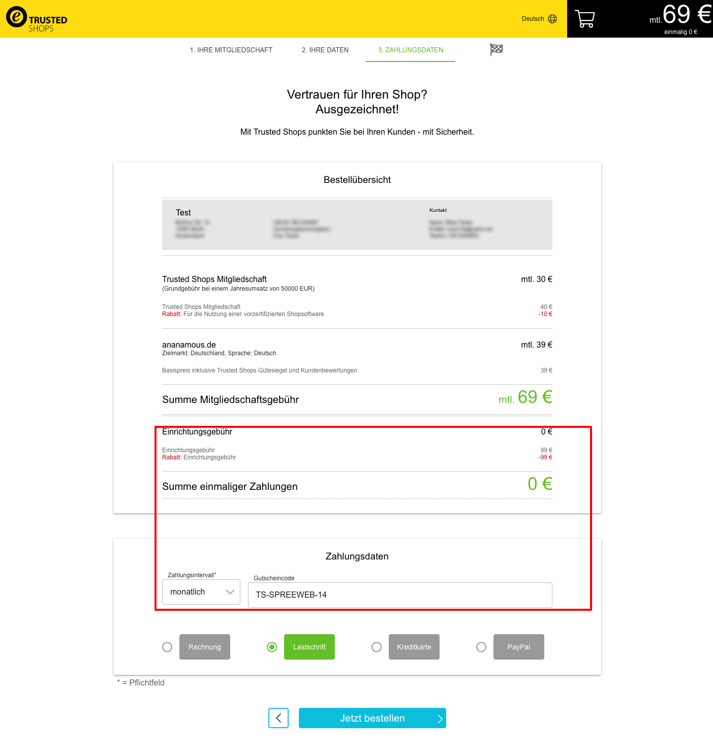 Trusted Shop Gutschein Code für 2019 im Bestellprozess angeben