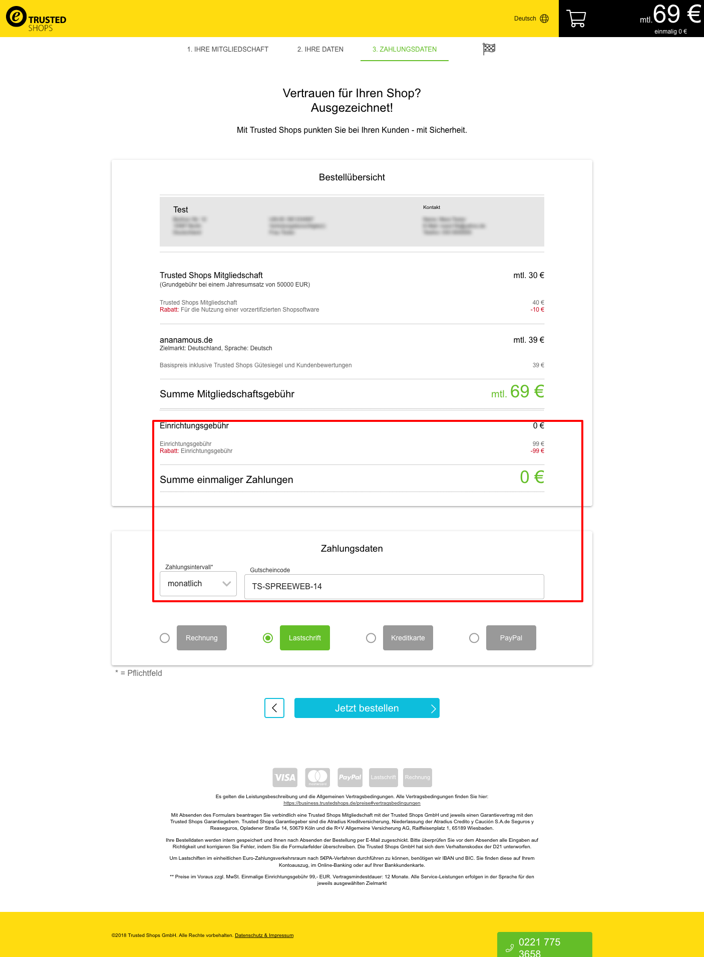 trusted shops gutscheine - jetzt bei der anmeldung angeben